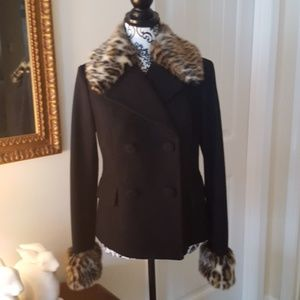 NWOT - Beautiful Wool Coat with Removable Fur Trim